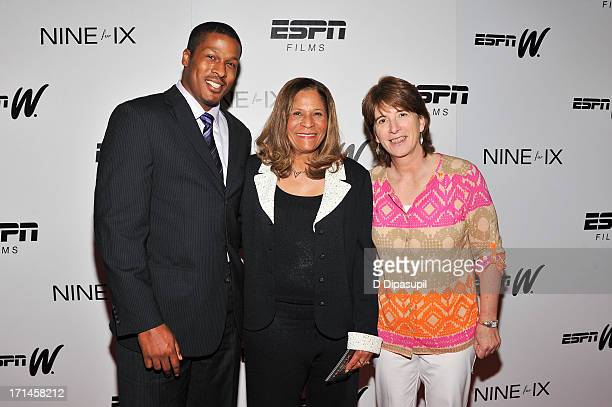 Justin Stringer C Vivian Stringer and Carol Stiff attend the 'Venus Vs' and 'Coach' screenings at the Paley Center For Media on June 24 2013 in New...