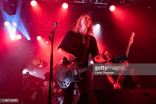 Justin Sullivan and Ceri Monger of New Model Army perform at Electric Ballroom on November 14, 2019 in London, England.
