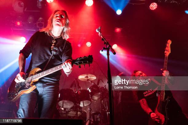 Justin Sullivan and Ceri Monger of New Model Army perform at Electric Ballroom on November 14 2019 in London England