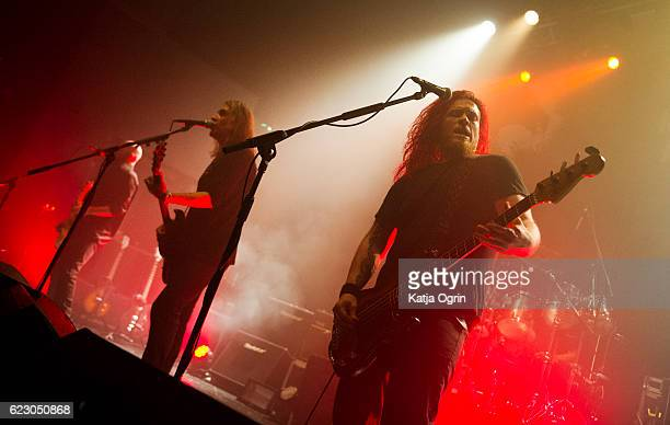 Justin Sullivan Marshall Gill and Ceri Morgan of New Model Army perform at 02 Institute Birmingham on November 13 2016 in Birmingham England