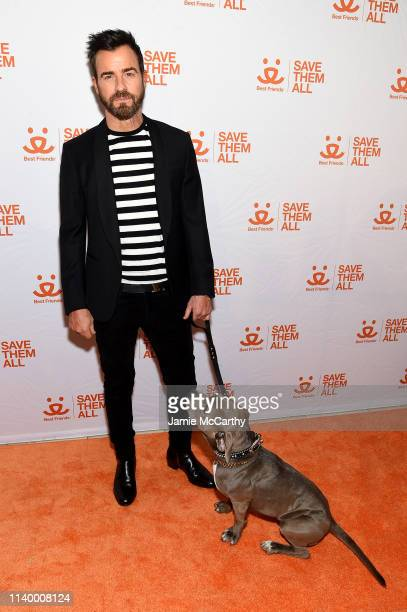 Justin Theroux and his dog Kuma attend Best Friends Animal Society's Benefit to Save Them All at Gustavino's on April 02 2019 in New York City