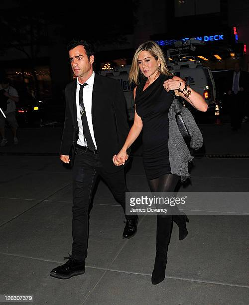 Justin Theroux and Jennifer Aniston arrive to Christie's 20 Rockefeller Plaza on September 22 2011 in New York City