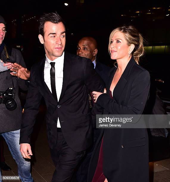 Justin Theroux and Jennifer Aniston arrive to Zoolander 2 premiere afterparty at Lincoln Center on February 9 2016 in New York City