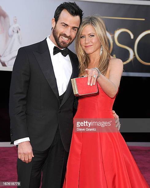 Justin Theroux and Jennifer Aniston arrives at the 85th Annual Academy Awards at Dolby Theatre on February 24 2013 in Hollywood California