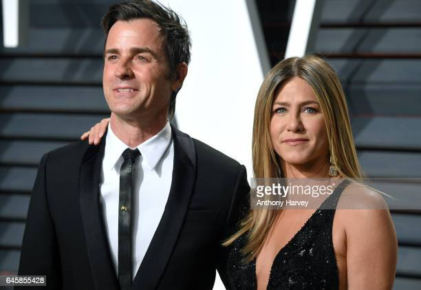 Justin Theroux and Jennifer Aniston attend the 2017 Vanity Fair Oscar Party hosted by Graydon Carter at Wallis Annenberg Center for the Performing...
