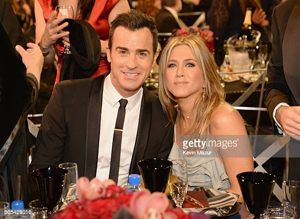 Justin Theroux and Jennifer Aniston attend the 21st Annual Critics' Choice Awards at Barker Hangar on January 17 2016 in Santa Monica California