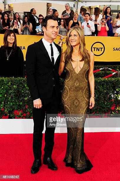 Justin Theroux and Jennifer Aniston attend the 21st Annual Screen Actors Guild Awards at the Shrine Auditorium on January 25, 2015 in Los Angeles,...