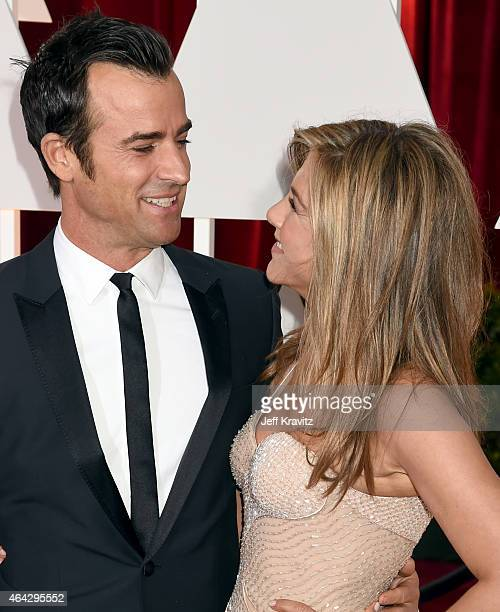 Justin Theroux and Jennifer Aniston attend the 87th Annual Academy Awards at Hollywood & Highland Center on February 22, 2015 in Hollywood,...