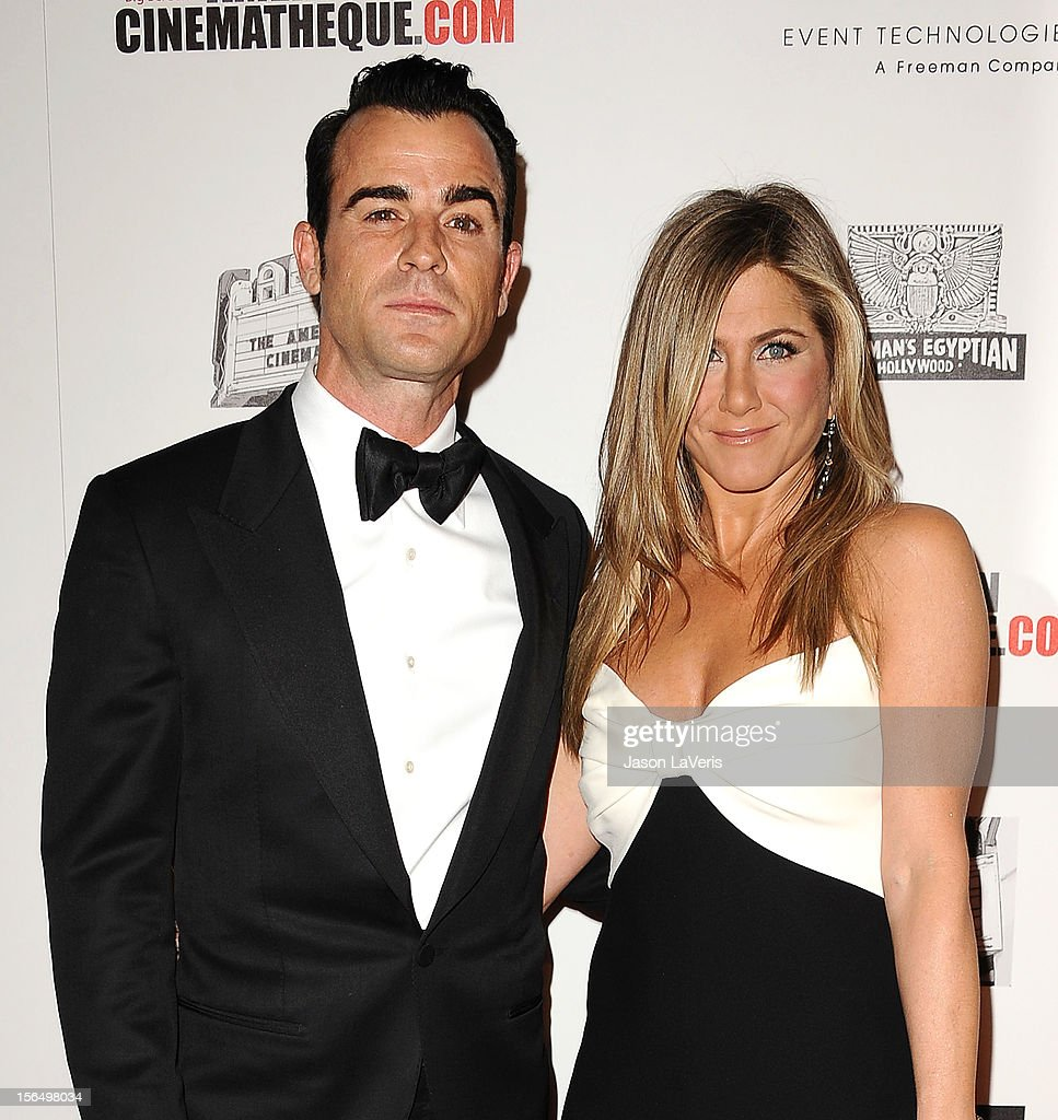 Justin Theroux and Jennifer Aniston attend the American Cinematheque 26th annual award presentation at The Beverly Hilton Hotel on November 15, 2012 in Beverly Hills, California.