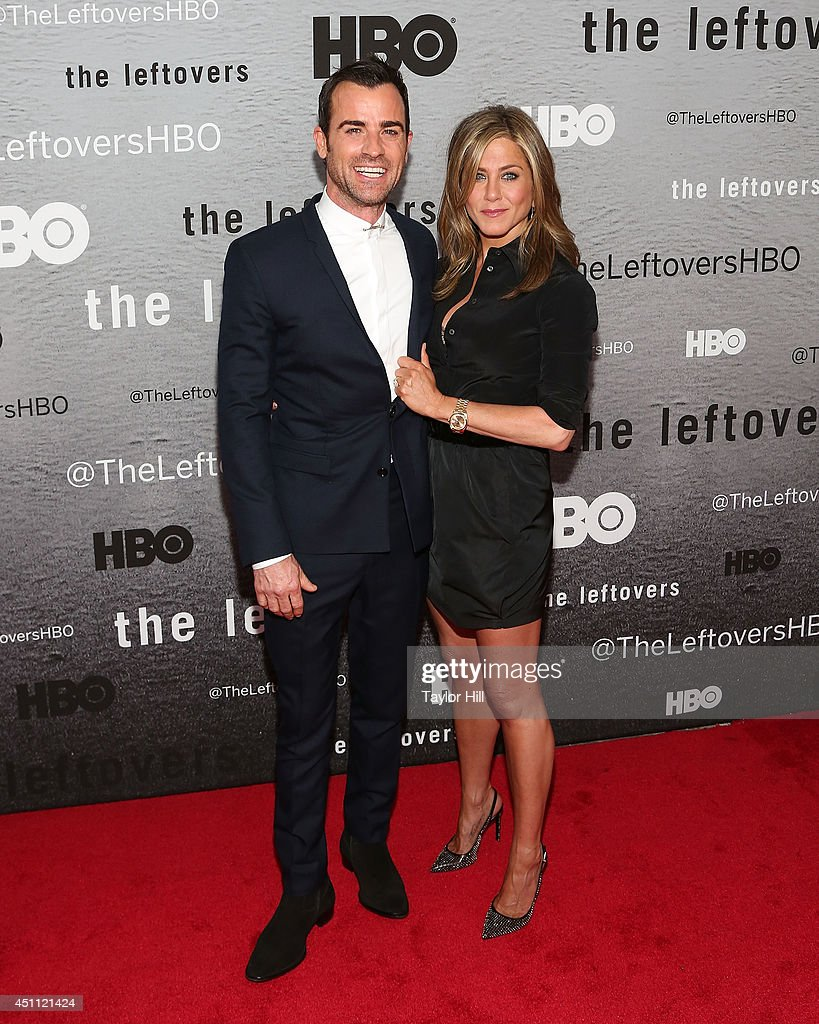 Justin Theroux and Jennifer Aniston attend 'The Leftovers' premiere at NYU Skirball Center on June 23, 2014 in New York City.