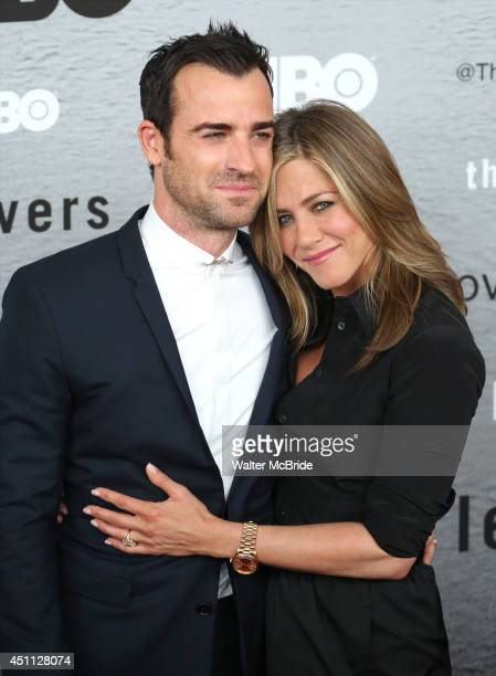 Justin Theroux and Jennifer Aniston attend The Leftovers premiere at NYU Skirball Center on June 23 2014 in New York City