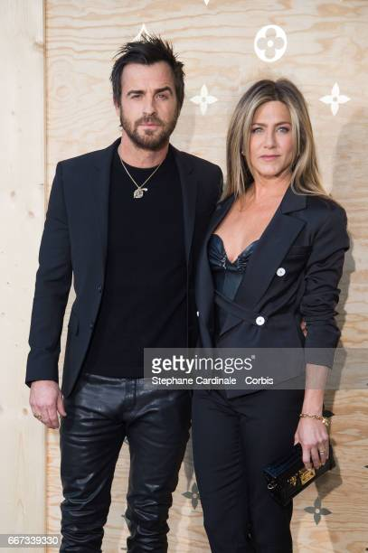 Justin Theroux and Jennifer Aniston attend the Louis Vuitton's Dinner for the Launch of Bags by Artist Jeff Koons at Musee du Louvre on April 11 2017...