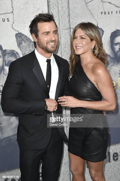 Justin Theroux and Jennifer Aniston attend the Premiere Of HBO's The Leftovers Season 3 Arrivals at Avalon Hollywood on April 4 2017 in Los Angeles...