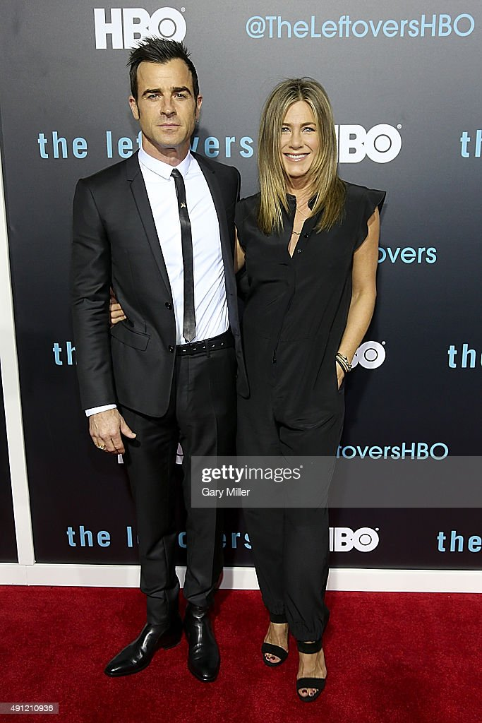Justin Theroux (L) and Jennifer Aniston attend the Season 2 premeire of HBO's 'The Leftovers' during the ATX Television festival at the Paramount Theatre on October 3, 2015 in Austin, Texas.