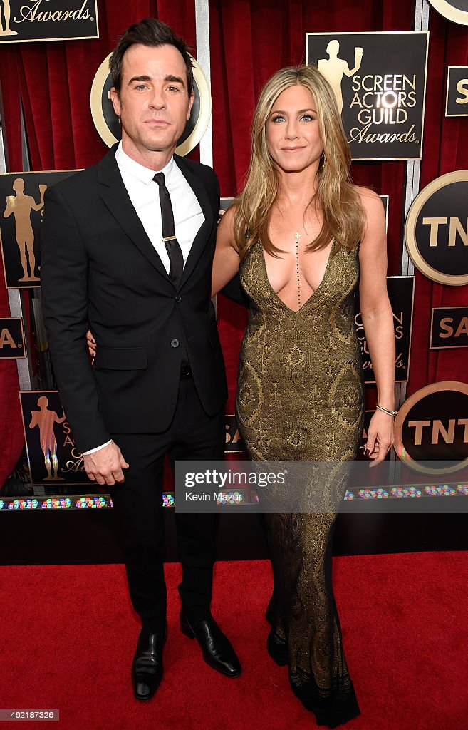 Justin Theroux and Jennifer Aniston attend TNT's 21st Annual Screen Actors Guild Awards at The Shrine Auditorium on January 25, 2015 in Los Angeles, California. 25184_016