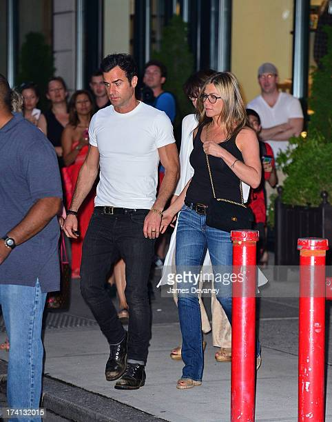 Justin Theroux and Jennifer Aniston leave the NoMad Hotel on July 20 2013 in New York City
