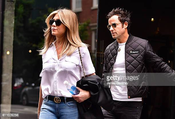 Justin Theroux and Jennifer Aniston seen on the streets of Manhattan on September 28 2016 in New York City