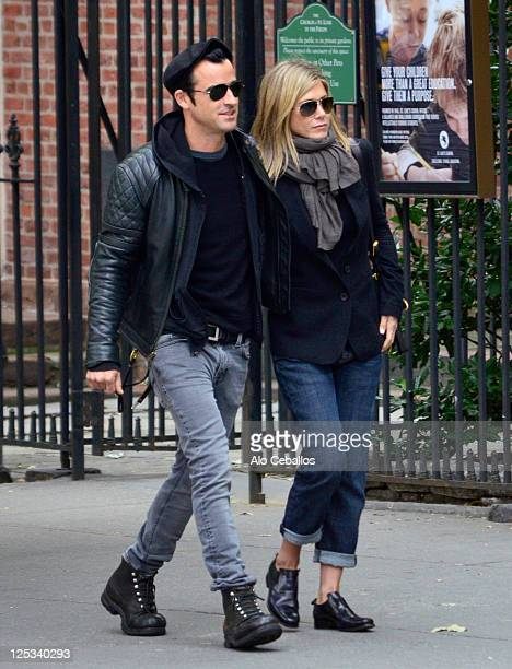 Justin Theroux and Jennifer Aniston sighting on September 16 2011 in New York City