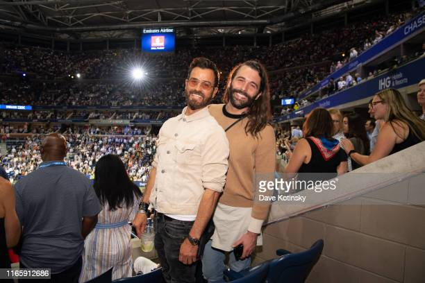 Justin Theroux and Jonathan Van Ness enjoy The MercedesBenz VIP Suite at The US Open at Arthur Ashe Stadium on September 3 2019 in New York City