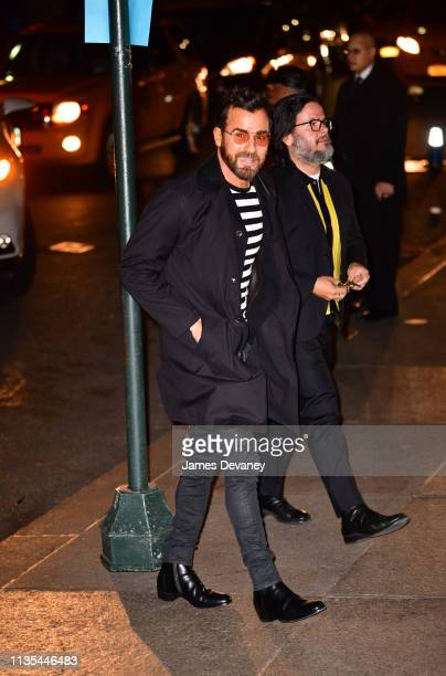 Justin Theroux arrives to wedding reception for Char Defrancesco and Marc Jacobs at The Grill and The Pool on April 6 2019 in New York City