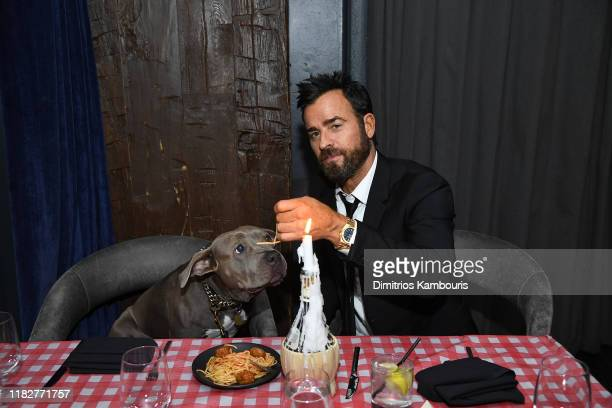 """Justin Theroux attends as Cinema Society hosts a special screening of Disney+'s """"Lady And The Tramp"""" at iPic Theater on October 22, 2019 in New York..."""