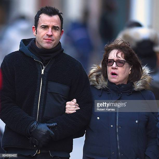 Justin Theroux is seen with 'The Leftovers' castmate Ann Dowd in Soho on January 11 2016 in New York City