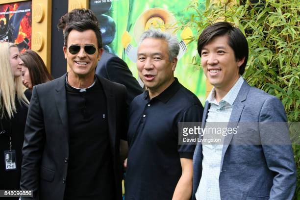 Justin Theroux Kevin Tsujihara and Dan Lin at the premiere of Warner Bros Pictures' The LEGO Ninjago Movie at Regency Village Theatre on September 16...