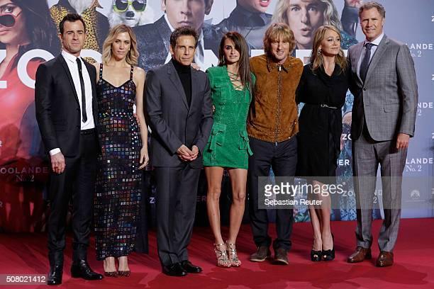 Justin Theroux Kristen Wiig Ben Stiller Penelope Cruz Owen Wilson Christine Taylor and Will Ferrell attend the Berlin fan screening of the film...