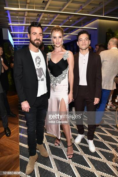 Justin Theroux Rosie HuntingtonWhiteley and Rami Malek attend the INTERSECT by Lexus Preview Event on August 14 2018 in New York City