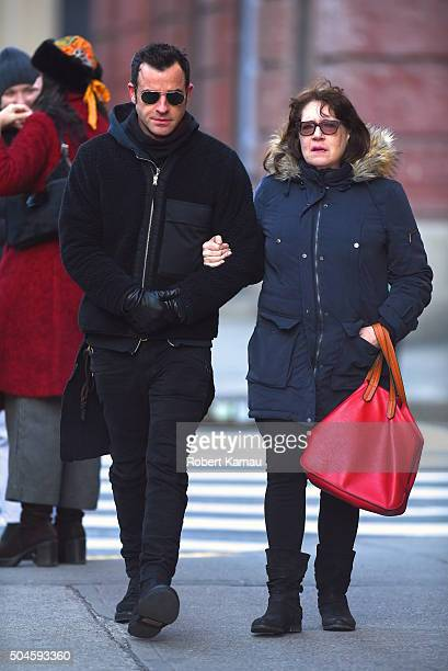 Justin Theroux seen out walking in SoHo with 'The Leftovers' castmate Ann Dowd on January 11 2016 in New York City