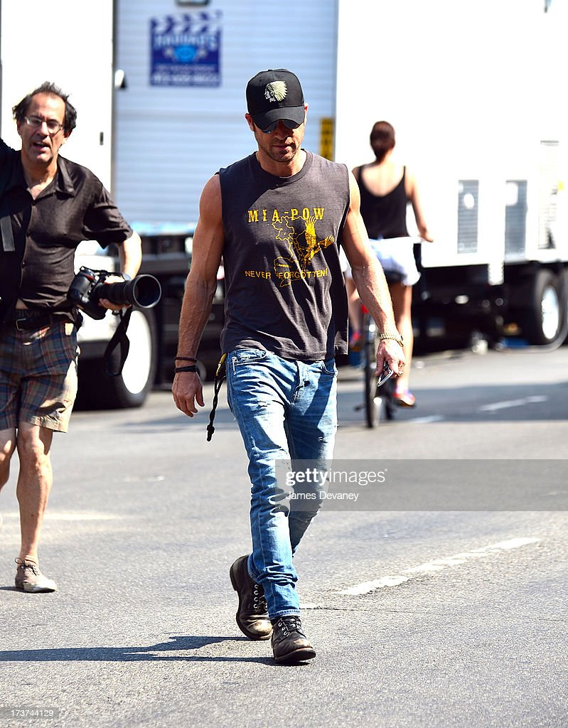 Justin Theroux seen visiting the set of 'Squirrels to the Nuts' on July 17, 2013 in New York City.
