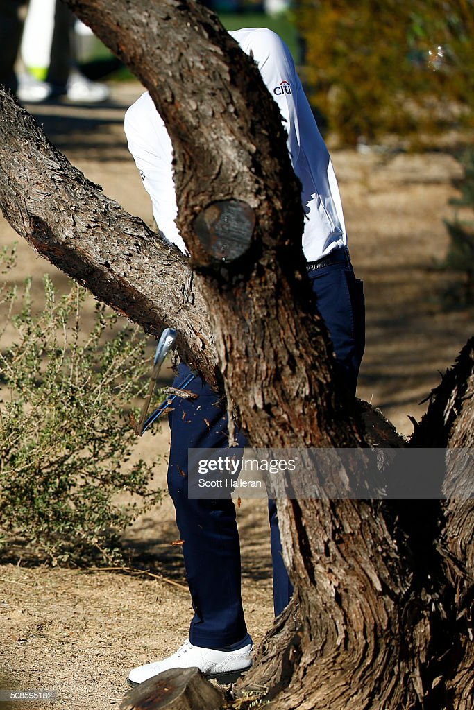 Justin Thomas breaks his club after hitting out of the rough on the 15th hole during the second round of the Waste Management Phoenix Open at TPC Scottsdale on February 5, 2016 in Scottsdale, Arizona.