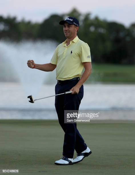Justin Thomas celebrates winning The Honda Classic in a playoff over Luke List at PGA National Resort and Spa on February 25 2018 in Palm Beach...