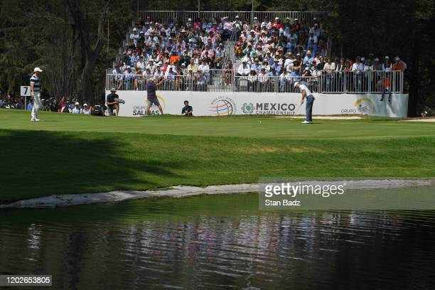Justin Thomas hits a putt on the sixth hole during the third round of the World Golf Championships-Mexico Championship at Club de Golf Chapultepec on...