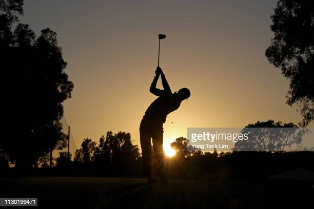 Justin Thomas hits a tee shot on the 2nd hole during the third round of the Genesis Open at Riviera Country Club on February 16 2019 in Pacific...