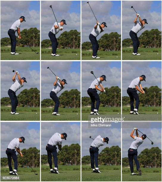 Justin Thomas hits his tee shot at second during the first round of the Honda Classic at PGA National Resort and Spa on February 22 2018 in Palm...