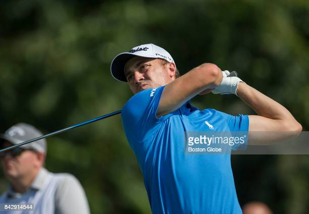 Justin Thomas is pictured on the seventh hole during the fourth-round of the Dell Technologies Championship at the TPC Boston in Norton, MA on Sep....