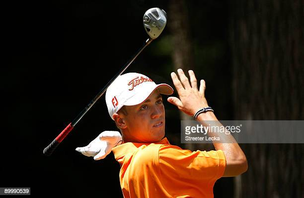 Justin Thomas lets go of his club on the 2nd hole during the second round of the Wyndham Championship at Sedgefield Country Club on August 21 2009 in...