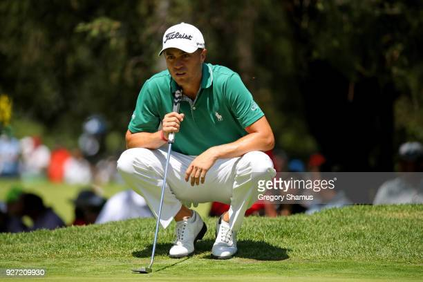 Justin Thomas lines up a putt on the second green during the final round of World Golf ChampionshipsMexico Championship at Club De Golf Chapultepec...