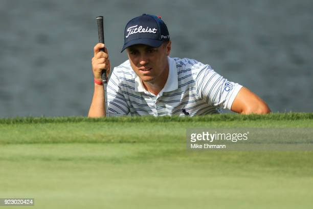 Justin Thomas lines up his putt on the 17th green during the first round of the Honda Classic at PGA National Resort and Spa on February 22 2018 in...