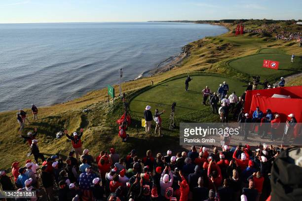 Justin Thomas of team United States plays his shot from the third tee during Friday Morning Foursome Matches of the 43rd Ryder Cup at Whistling...