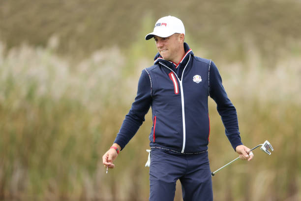 Justin Thomas of team United States reacts on the green during practice rounds prior to the 43rd Ryder Cup at Whistling Straits on September 23, 2021...