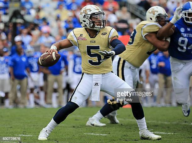 Justin Thomas of the Georgia Tech Yellow Jackets in action during the second half of the game against the Kentucky Wildcats at EverBank Field on...