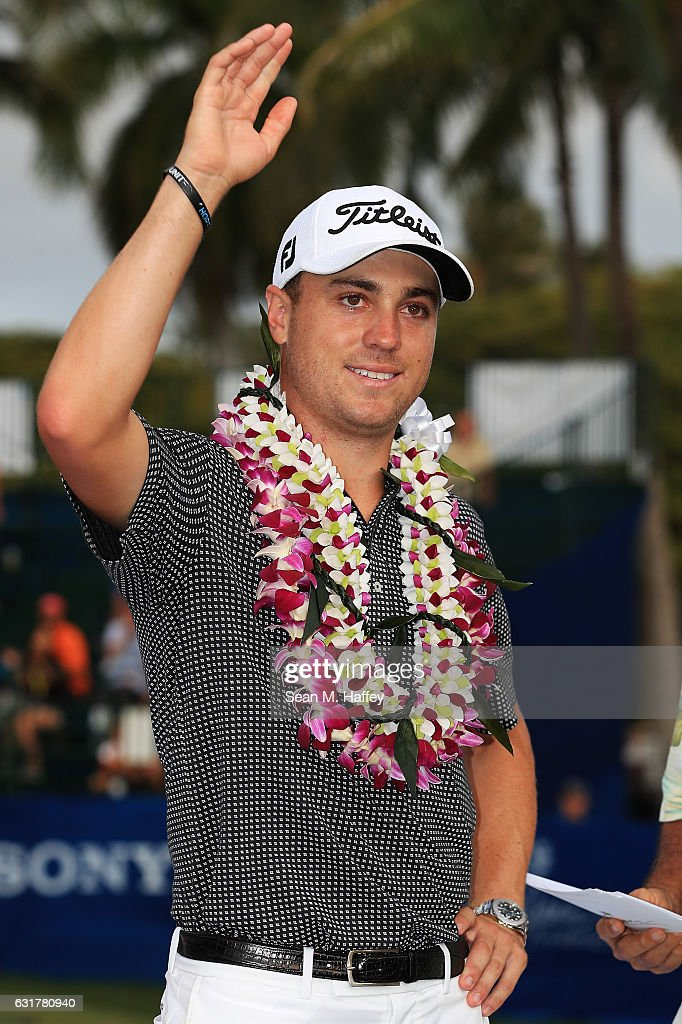Justin Thomas of the United States celebrates winning on the 18th green after the final round of the Sony Open In Hawaii at Waialae Country Club on January 15, 2017 in Honolulu, Hawaii.