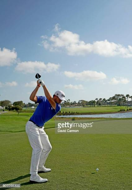 Justin Thomas of the United States hits a driver from the 18th tee during the proam for the 2018 Honda Classic on The Champions Course at PGA...