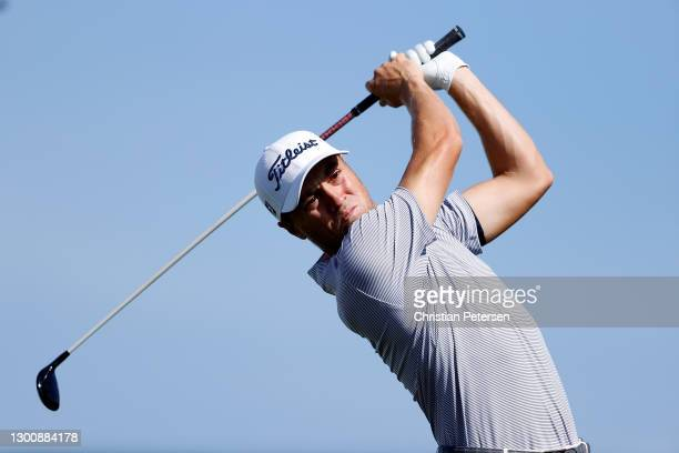 Justin Thomas of the United States hits his tee shot on the 10th hole during the final round of the Waste Management Phoenix Open at TPC Scottsdale...