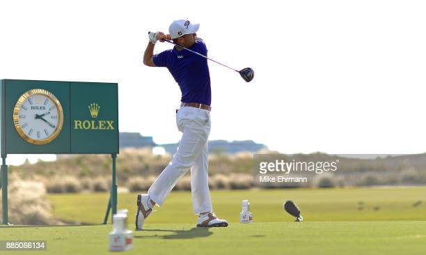 Justin Thomas of the United States hits his tee shot on the 18th hole during the final round of the Hero World Challenge at Albany Bahamas on...