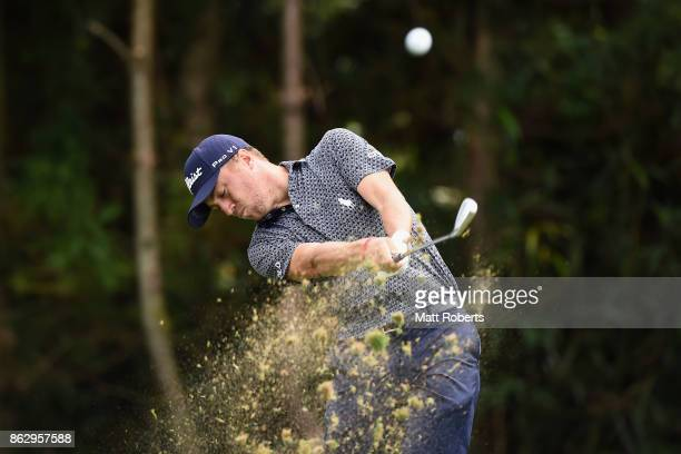 Justin Thomas of the United States hits his tee shot on the 7th hole during the first round of the CJ Cup at Nine Bridges on October 19 2017 in Jeju...