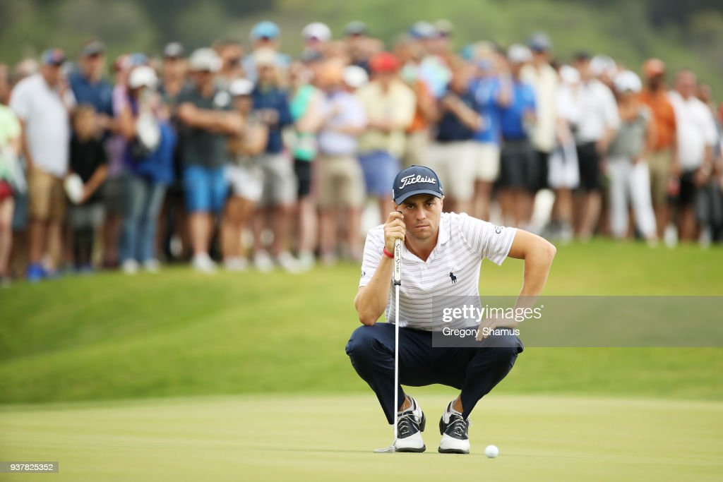 Justin Thomas of the United States lines up a putt on the 15th green during his semifinal round match against Bubba Watson of the United States in the World Golf Championships-Dell Match Play at Austin Country Club on March 25, 2018 in Austin, Texas.