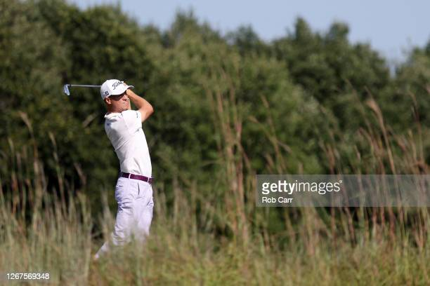 Justin Thomas of the United States on the 12th hole during the second round of The Northern Trust at TPC Boston on August 21, 2020 in Norton,...